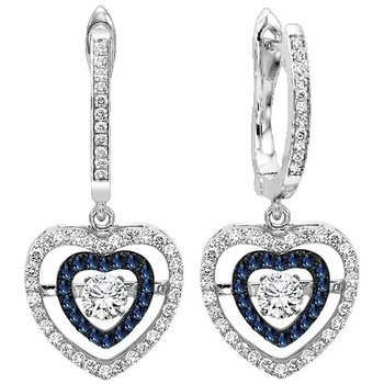 14K Blue & White Diamond Rhythm Of Love Earrings 1/2 ctw