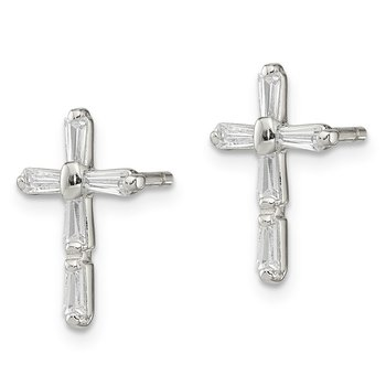 Sterling Silver CZ Cross Post Earrings