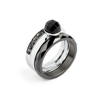 316L stainless steel, onyx and silver night Swarovski® Elements.