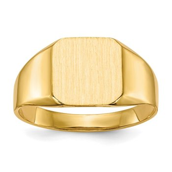 14k 11.0x11.0mm Open Back Mens Signet Ring