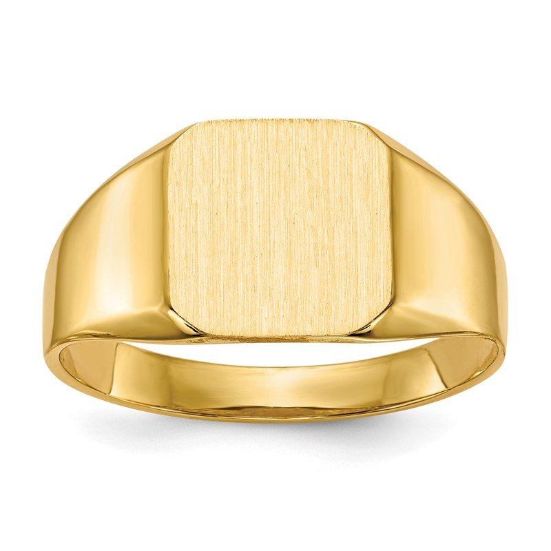 Quality Gold 14k 11.0x11.0mm Open Back Mens Signet Ring