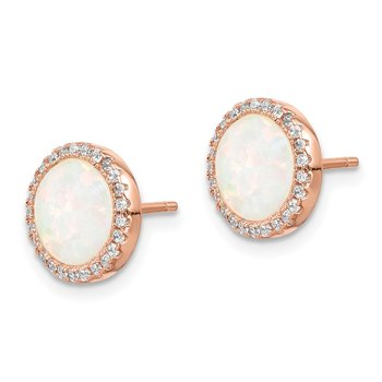 Sterling Silver Rose-Tone Round Created Opal CZ Halo Earrings