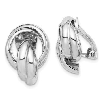 Sterling Silver RH-plated Knot Design Clip Back Non-Pierced Earrings