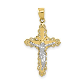 10K w/ Rhodium Filigree Crucifix Pendant