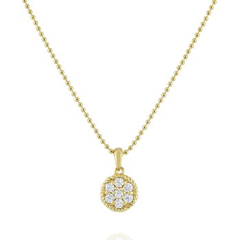 14K Diamond Cable Circle Necklace