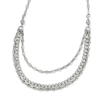 Leslie's Sterling Silver Polished and Beaded Necklace w/2in ext