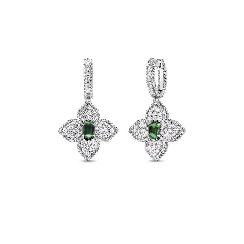 Roberto Coin 18K Diamond & Tsavorite Flower Drop Earrings