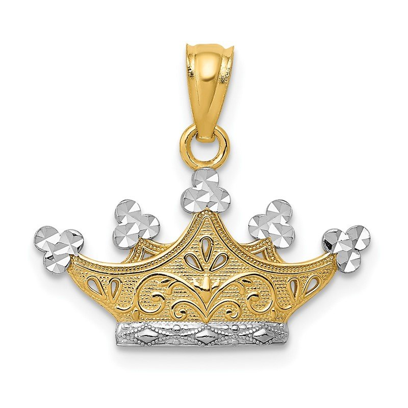 Quality Gold 14k and Rhodium Crown Pendant