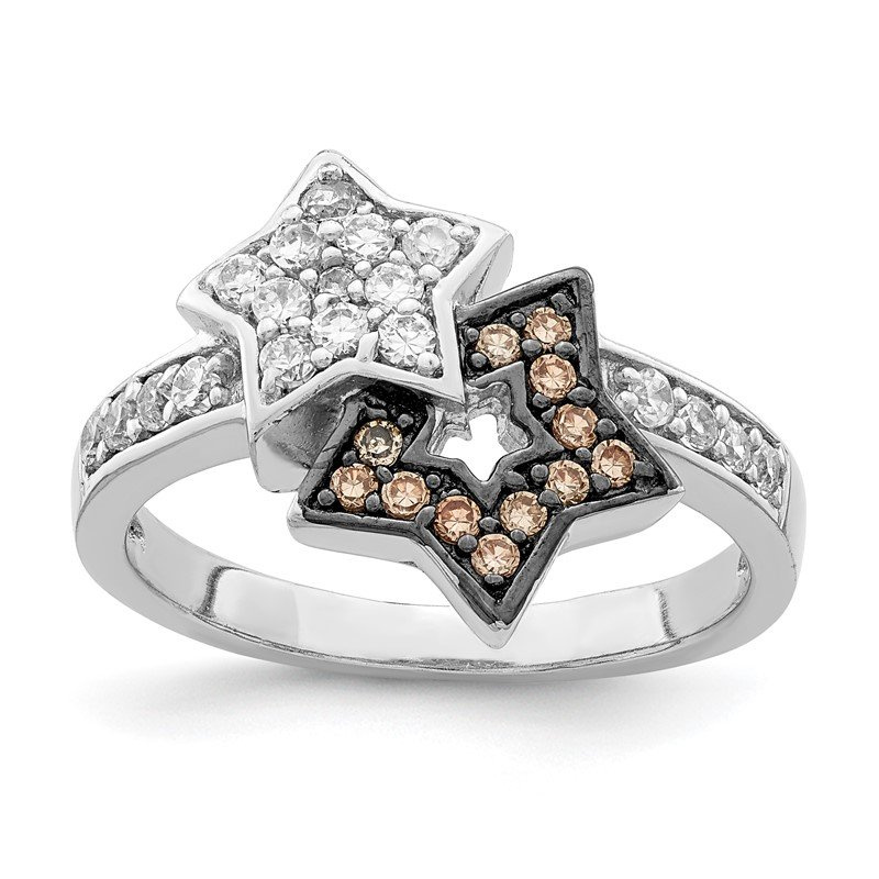 Quality Gold Sterling Silver Rhodium Clear & Champagne CZ Stars Ring