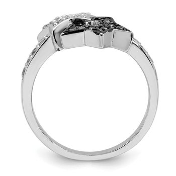 Sterling Silver Rhodium Clear & Champagne CZ Stars Ring