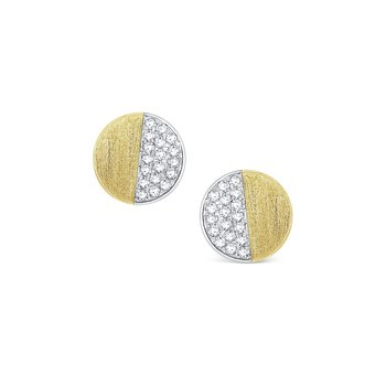 Round Diamond Half Moon Stud Earrings Set in 14 Kt. Gold
