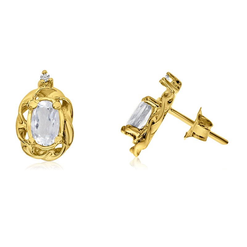 Color Merchants 14k Yellow Gold White Topaz Scroll Diamond Earrings