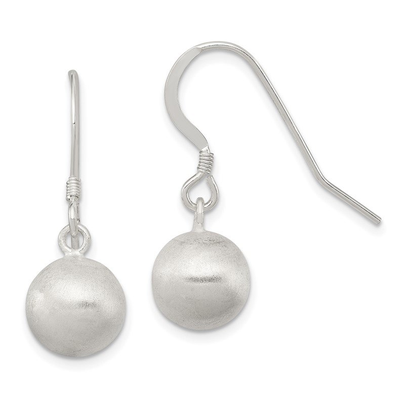 Quality Gold Sterling Silver Polished Laser-cut Ball 10mm Shepherd Hook Earrings