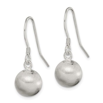 Sterling Silver Polished Laser-cut Ball 10mm Shepherd Hook Earrings