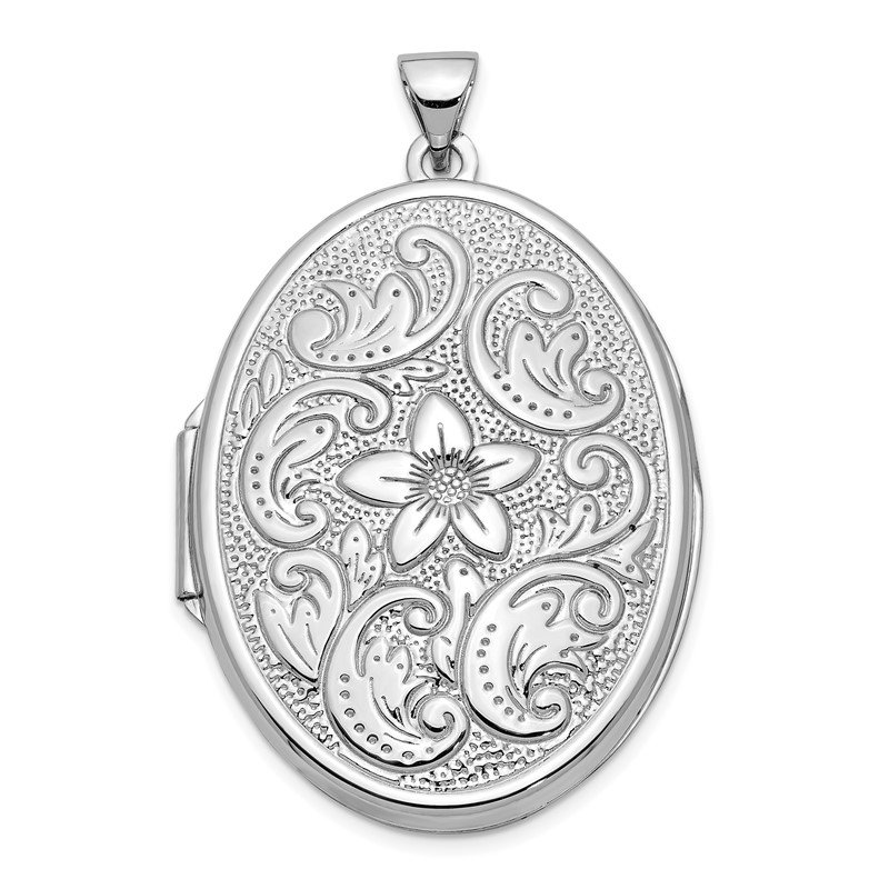Quality Gold 14k White Gold 32mm Oval Flower With Scrolls Locket