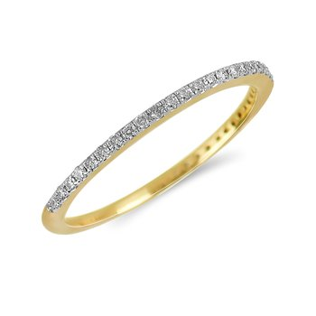 14K YG Diamond almost eternity Band in Prong Setting. 1/10 Cts