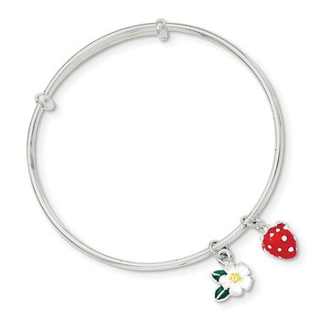 Sterling Silver Enamel Kid's Flower and Strawberry Bangle