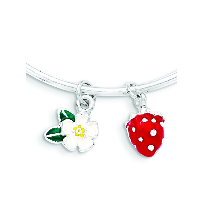Quality Gold Sterling Silver Enamel Kid's Flower and Strawberry Bangle