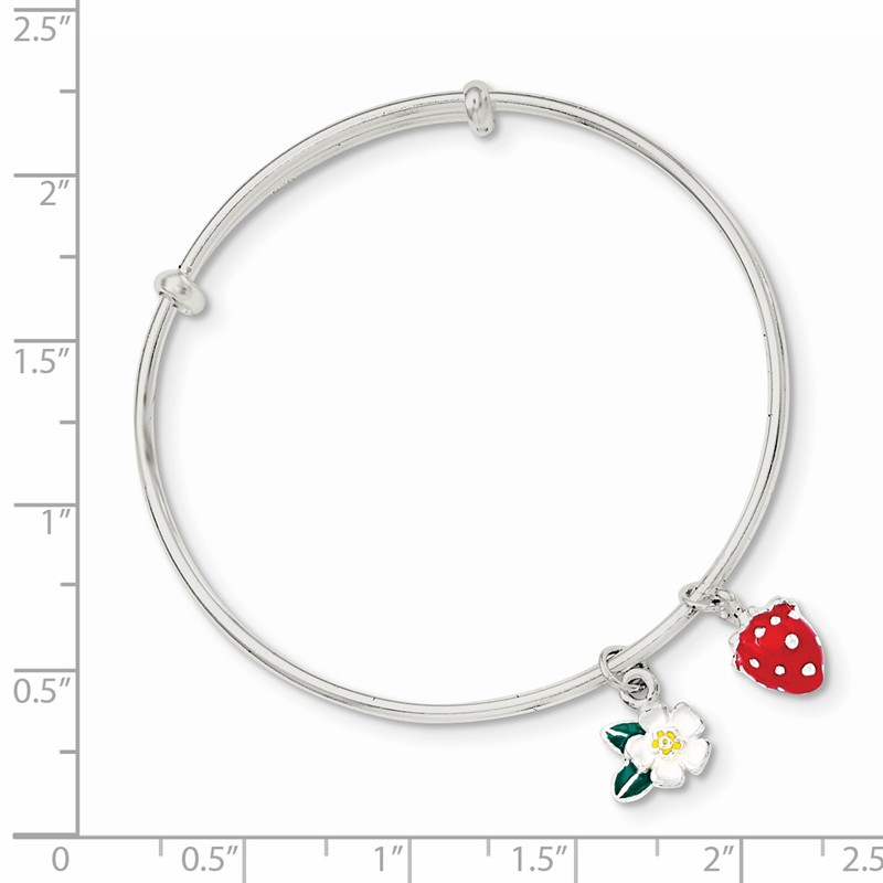 Sterling Silver Enamel Kids Flower and Strawberry Post Earrings