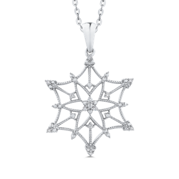 Sterling Silver .07 Ct Diamond Snow Flake Pendant with Chain