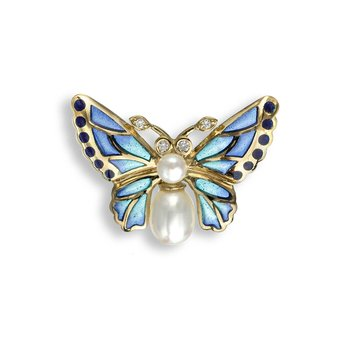 Blue Butterfly Lapel Pin.18K -Diamonds and Freshwater Pearls