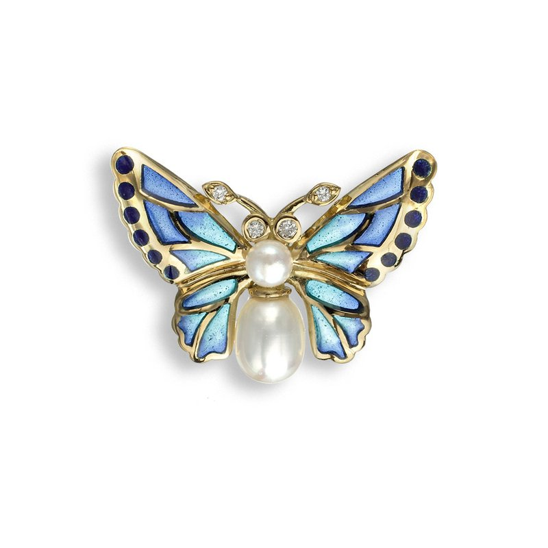 Nicole Barr Designs Blue Butterfly Lapel Pin.18K -Diamonds and Freshwater Pearls