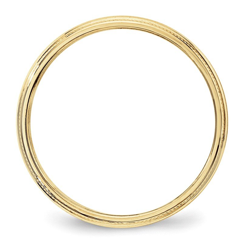 Quality Gold 10KY 3mm Milgrain Half Round Band Size 10