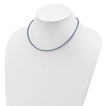 Sterling Silver 16inch 1.5mm Royal Blue Leather Cord Necklace
