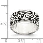 Quality Gold Sterling Silver Antiqued Band