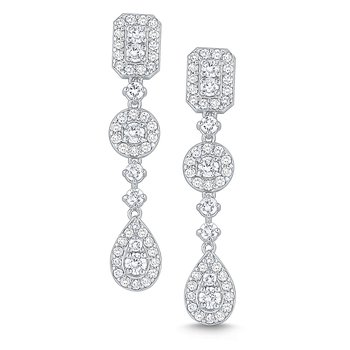 Diamond Drop Earrings Set in 14 Kt. Gold