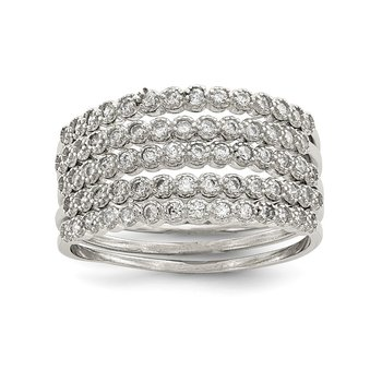 Sterling Silver Stackable Set of 5 CZ Rings