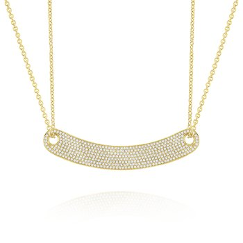 14k Gold and Diamond Curved Bar Necklace (Large) on Double Chain