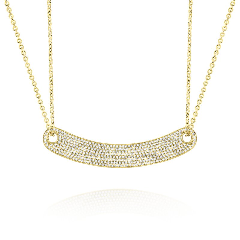 MAZZARESE Fashion 14k Gold and Diamond Curved Bar Necklace (Large) on Double Chain