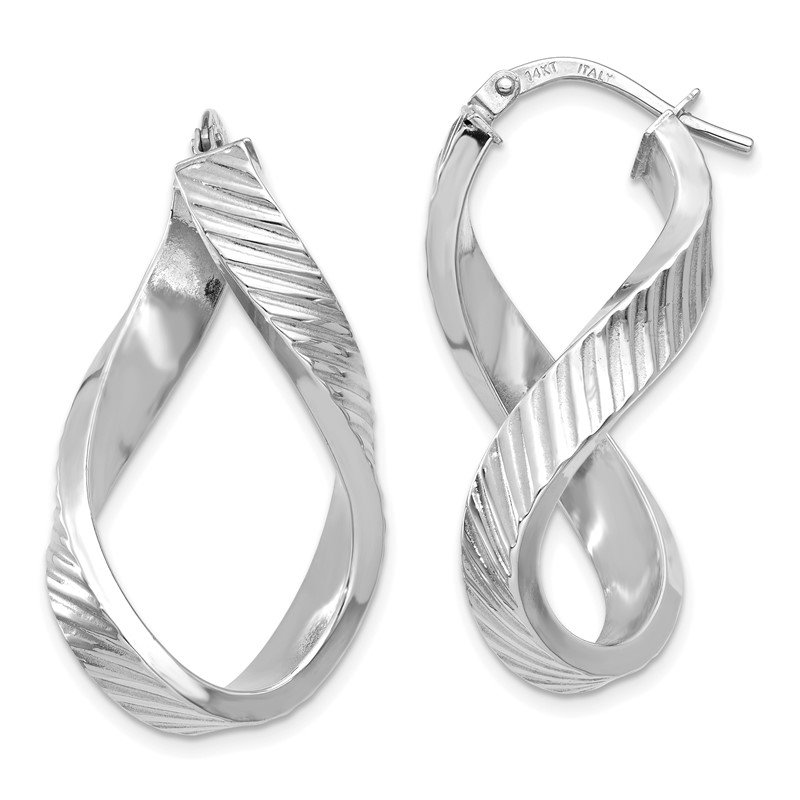 Quality Gold 14K White Gold Twisted Textured Oval Hoop Earrings