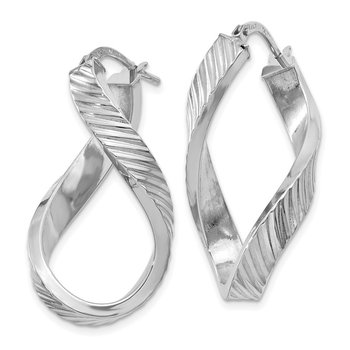 14K White Gold Twisted Textured Oval Hoop Earrings