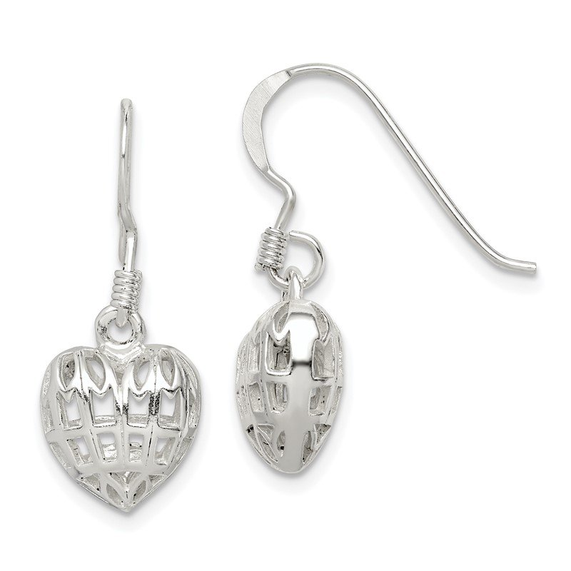 Quality Gold Sterling Silver Heart Dangle Earrings