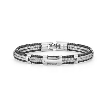 Black & Grey Cable Bracelet with Rectangular Steel Station