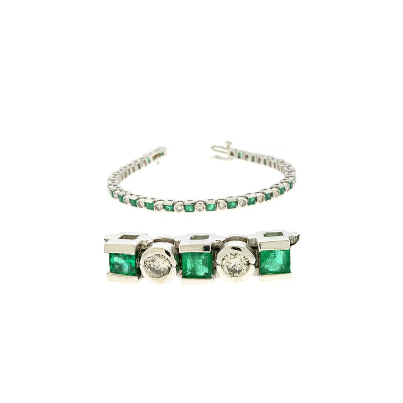 S. Kashi  & Sons Emerald & Dia White Gold Bracelet