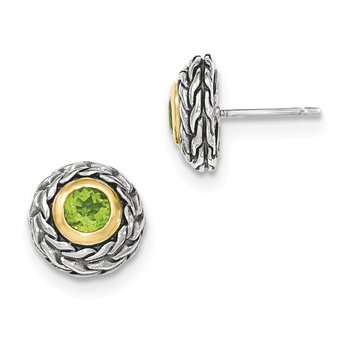 Sterling Silver w/14k Peridot Post Earrings
