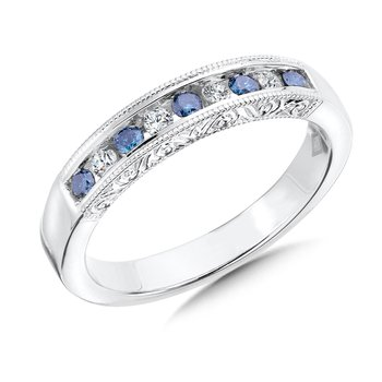 Channel Set Blue & White diamond anniversary band, 10k White Gold (0.28 ct. tw.) Fancy /