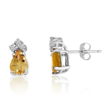 14k White Gold 7X5 Pear Citrine and Diamond Earrings