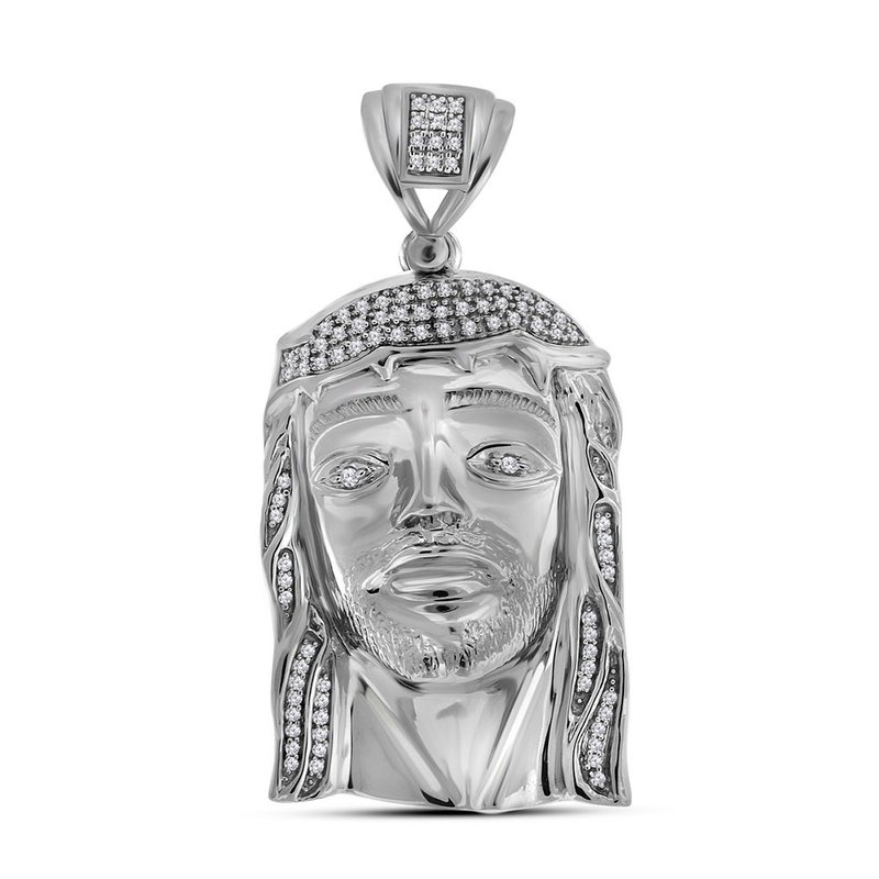Kingdom Treasures Sterling Silver Mens Round Diamond Jesus Christ Messiah Religious Charm Pendant 3/8 Cttw