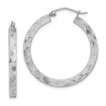 Sterling Silver Rhodium-plated D/C 3x30mm Square Tube Hoop Earrings