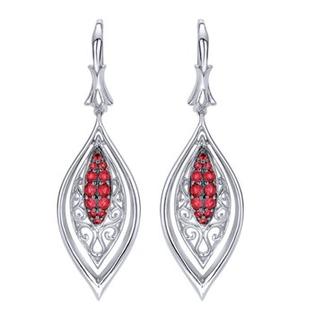 925 Sterling Silver Vintage Inspired Marquise Ruby Drop Earrings