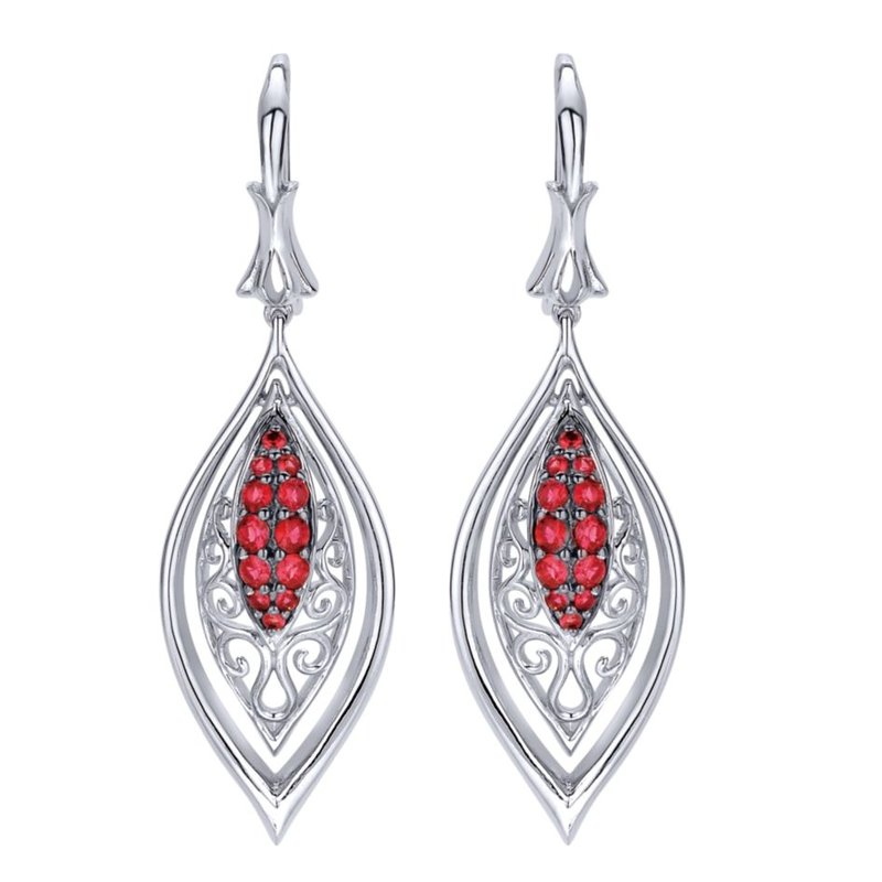 Gabriel Fashion 925 Sterling Silver Vintage Inspired Marquise Ruby Drop Earrings
