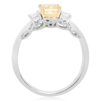 Cushion Cut Side Stone Diamond Ring