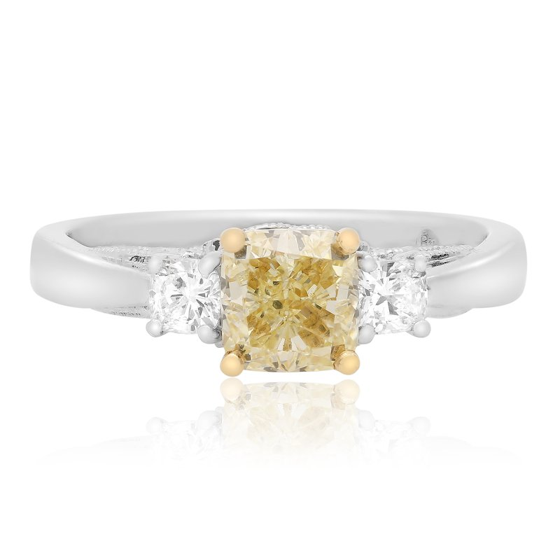 Roman & Jules Cushion Cut Side Stone Diamond Ring