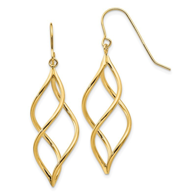 Quality Gold 14K Twisted Dangle Earrings