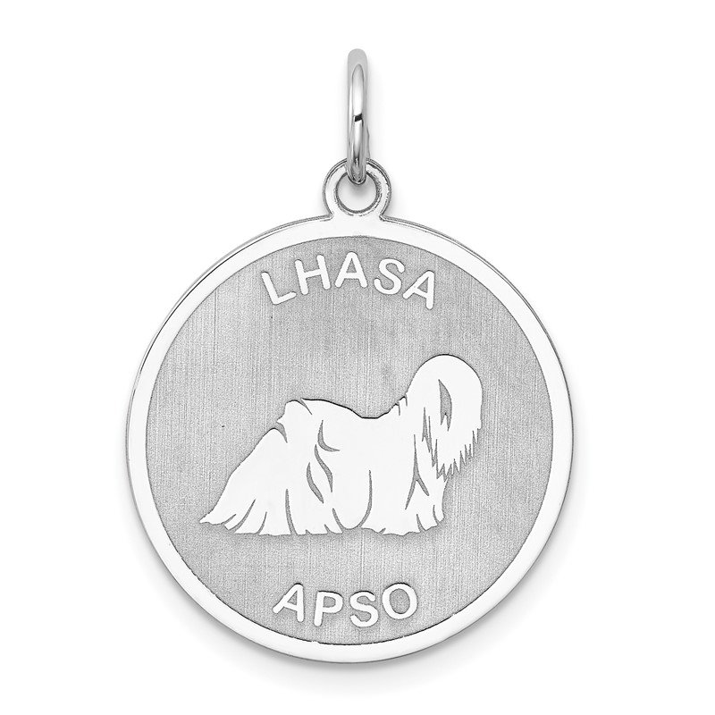 Quality Gold Sterling Silver Rhodium-plated Lhasa Apso Disc Charm