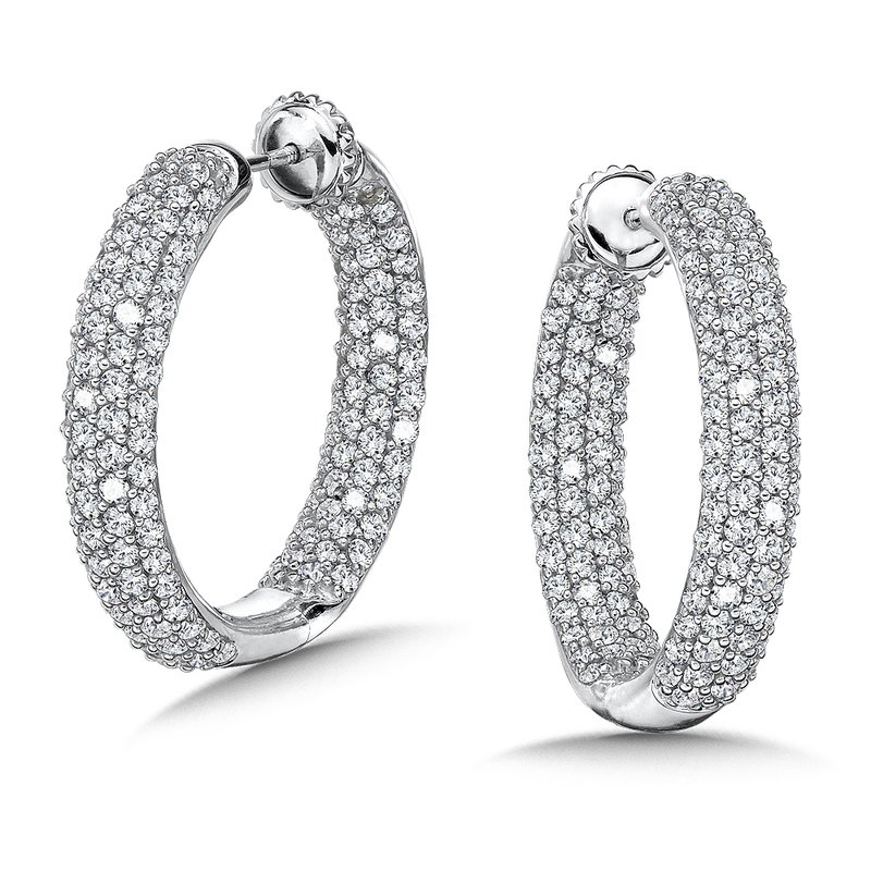Caro74 Locking 4-Row Reflection Diamond Hoops in 14K White Gold with Platinum Post